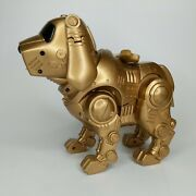 Vintage 90s Gold Tekno Interactive Robot Dog W/ Bone, Tested And Working
