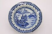 Chinese Antique Blue And White Porcelain Plate With Landscape