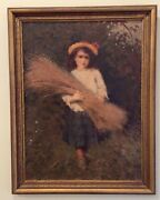 Rare Antique Original Early Work Oil Painting By French Artist Abel Bertram