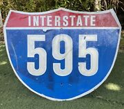 Interstate 595 Authentic Retired Road Street Sign 24 X 30 - Florida