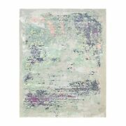 7and03910x10and039 Green With Soft Colors Modern Wool And Silk Hand Knotted Rug G62413