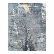 8and039x10and0393 Wool And Silk Charcoal Black Hand Knotted Modern Oriental Rug G62417