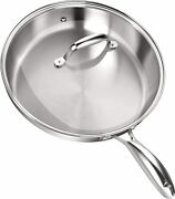 12 Stainless Steel Skillet With Glass Cover Induction Compatible Utopia Kitchen
