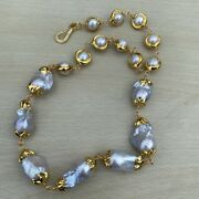 Gray Keshi Pearl White Round Pearl With Gold Plated Edge Handmade Necklace 21