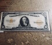 1922 Ten Dollar 10 Bill Gold Seal Certificate - Large Bank Note -extremely Nice
