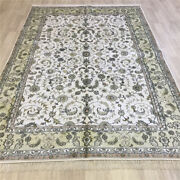 Yilong 6'x9' Handknotted Silk Carpet Furniture Home Decor White Area Rug L084c