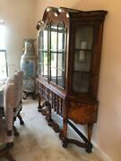 Antique Style Dutch Glass Display Cabinet Bookcase Walnut Marquetry Inlays
