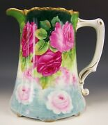 Beautiful Hand Painted Floating Roses 8 X 8 Water Pitcher Artist Signed