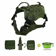 Tactical Dog Harness With Patches Pouches Handle Molle Medium Army Green+bowl