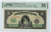 Dominion Of Canada 1917 1 Dc-23d Pmg Very Fine 35 Realy Nice