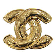 Cc Logos Brooch Gold 1152 Vintage France Authentic Qq656 O