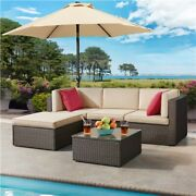 5 Pcs Patio Sofa Set Outdoor Sectional Furniture Conversation Set With Cushions