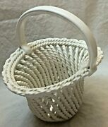 Rare Dept 56 Italy - Woven Metal Basket With Handle - Off White