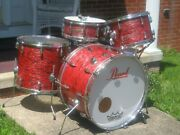 Vintage 60and039s Pearl Japan Red Oyster Drum Set Kit 4pc. 221613 + Wood Snare