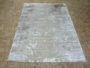 9 X 12and0393 Hand Knotted Brown Modern Abstract Oriental Rug With Silk G9071