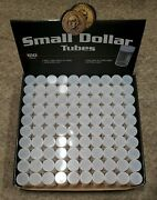 100 Bcw Round Clear Plastic Small Dollar Coin Tubes With Screw On Caps
