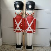 Vintage Blow Mold Toy Soldiers Light Up General Foam Christmas Decor Display Two