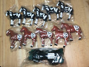 """Horse String Lights Hard Plastic Covers 10 Black Brown Horse Ponies 4"""" H New"""