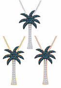 1/3ct Round Cut Blue And White Diamond Palm Tree Pendant Necklace In 14k Gold-igi-