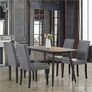 4pcs Dining Chairs High Back Pu Leather Chair With Wood Legs