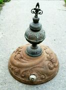 Antique Ornate Cast Iron Wood Coal Parlor Stove Top W/ Metal Finial Garland