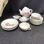 Vintage China Mini Doll Tea Party Set For Kids White W/pink Flowers Design Prpd