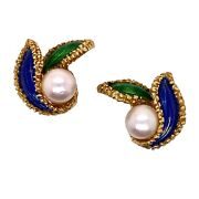 1950and039s French Floral 18 Karat Yellow Gold Enamel Pearl Vintage Earrings Clips