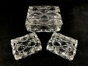 🟩 Heisey Glass Crystal Wampum Pattern Line 1533 Cigarette Box And 2 Ashtrays