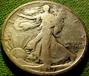 1917-s Obv. Walking Liberty 50c Nice Better Early Date San Franciso Mint 92hm