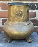 Antique Brass Metal Jardiniere Planter Sandal Footed Feet Stags Crown Vessel Pot
