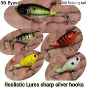 Fishing Lures Whopper Popper Water Top Baits Rotating Tail Bass 75mm 17g Wobbler