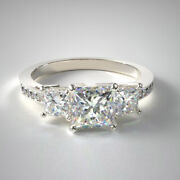 1.27 Ct Real Diamond Wedding Trilogy Ring Solid 950 Platinum Band Size 4.5 6 7 8