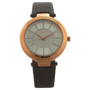 Ny2296 Stanhope Gray Leather Strap Watch By Dkny For Women - 1 Pc Watch