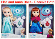 New Disney Frozen 35cms Anna And Elsa Doll And Jewellery Dress Up Accessory Set