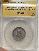 1859 George Washington Mint Cabinet Silver Medal Baker-325a Anacs Ms62 Toned