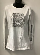 Harley Davidson Womens Curved Crest Long Sleeve T-shirt White R004116