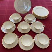 """Lenox Mansfield China 8 Cups W Sausers, And 8 Desert Plates 9"""""""