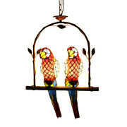 Retro Pendant Stained Glass 2 Parrot Suspended Lighting With Arch Shelf