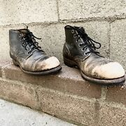 Vintage 1969 Vietnam Combat Military Army Distressed Black Leather 7 Boots 60s