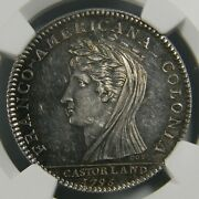 1845-60 Restrike Reeded/pointed Hand Castorland Silver Medal Ngc Ms 61