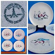 Rare Set Of 4 Vintage Salins Faienceries Riviera Plates Hand Made In France