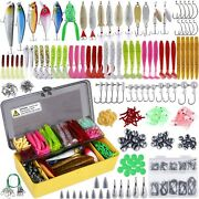 Fishing Lures Baits Tackle Crankbaits Spinnerbaits Plastic Worms Kit Set