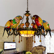 Victorian Style Chandelier Stained Glass Parrot Ceiling Light Pendant