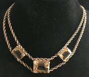 Vintage 10k Double Strand Rope Chain 15 Necklace W/ 3 Emerald Cut Topaz 57 Ctw
