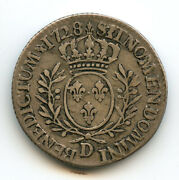 Louis Xv 1715-1774 1/5 Ecu Of Branches D And039ol Olivier 1728 D Lyon
