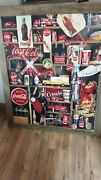 Giant Coca Cola Finished Jigsaw Puzzle Mounted Rustic Wood Framed 40 X 48 1