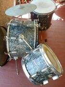 Rogers Holiday Cleveland No. 33774 Drum Set Black Diamond Pearl Vintage 1960and039s