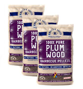 3 Pack Plum Wood Bbq Cooking Pellets 20 Lbs 100 Natural Sweetness Knotty Wood