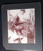 Cabinet Card Handsome One Armed Man Fishing NishnabotÑa Iowa Poem On The Back,