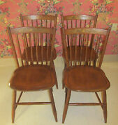 Lambert Hitchock Set Of 4 Maple Country Side Chairs Hand Decorated